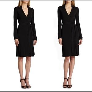 DVF Black Collared Wrap Dress